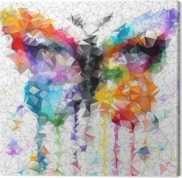 tableau sur toile papillon lumineux multicolore fond abstrait g om trique pixers nous. Black Bedroom Furniture Sets. Home Design Ideas