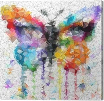 Tableau sur toile Papillon lumineux multicolore fond abstrait géométrique