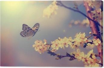 Tableau sur Toile Papillons et fleurs de cerisier
