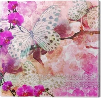 Tableau sur Toile Papillons et orchidées fleurs fond rose (1 jeu)