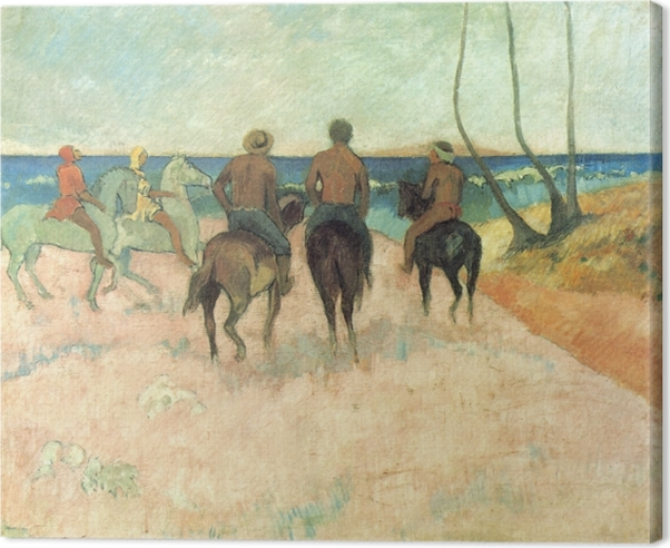 Tableau sur toile Paul Gauguin - Cavaliers sur la plage - Reproductions
