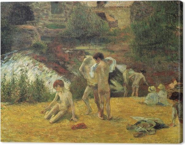 Tableau sur toile Paul Gauguin - La Baignade au moulin du Bois d'Amour - Reproductions