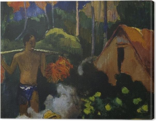 Tableau sur toile Paul Gauguin - Mahana Maà (Paysage à Tahiti) - Reproductions
