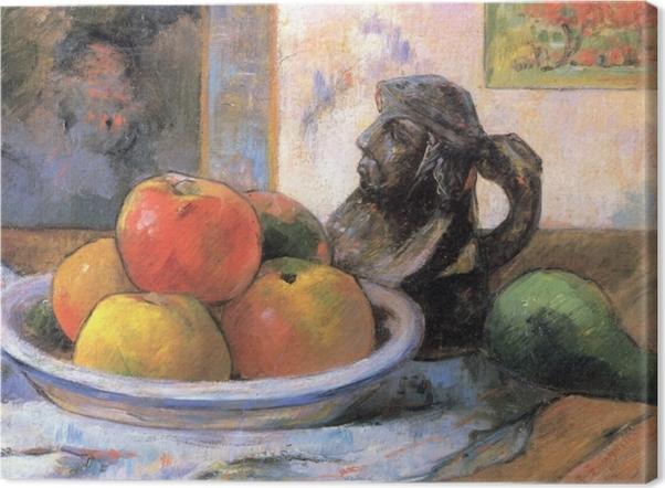 Tableau sur toile Paul Gauguin - Nature morte aux pommes, poire et cruche en céramique - Reproductions