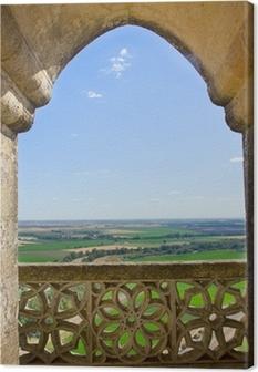 Tableau sur toile Paysage à travers la fenêtre château gothique, Espagne