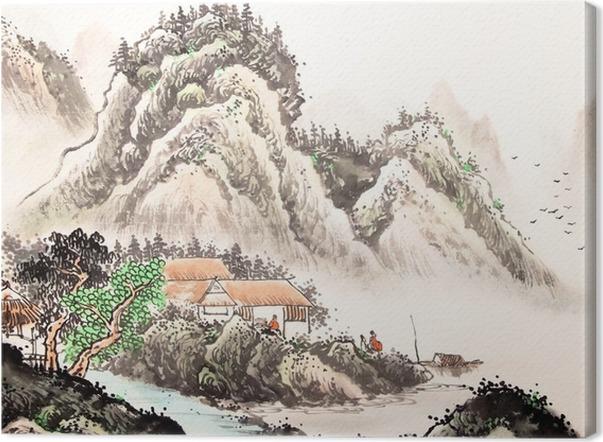 tableau sur toile paysage chinois aquarelle painting pixers nous vivons pour changer. Black Bedroom Furniture Sets. Home Design Ideas