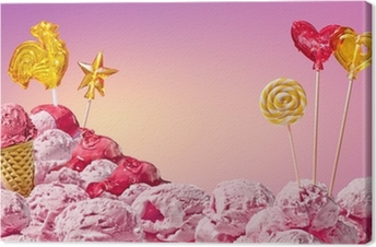 Tableau sur toile Paysage magique douce de la crème glacée et des bonbons
