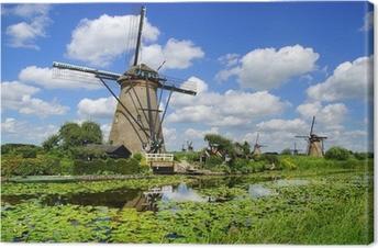 Tableau sur toile Paysage pittoresque avec des moulins à vent. Kinderdijk