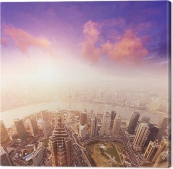 Tableau sur toile Paysage urbain de Shanghai, brumeux et nuageux