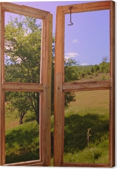 Tableau sur toile Paysage vu à travers une fenêtre