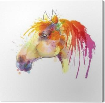 Tableau sur toile Peinture à l'aquarelle Tête de cheval