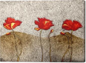 Tableau sur toile Peinture à l'huile de fleurs abstraites