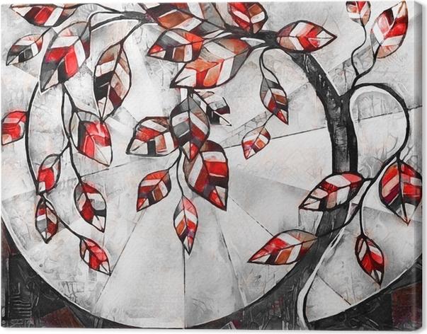 tableau sur toile peinture l 39 huile sur toile arbre stylis oeuvre moderne illustration. Black Bedroom Furniture Sets. Home Design Ideas