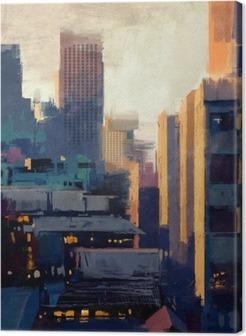 Tableau sur Toile Peinture de gratte-ciel au coucher du soleil