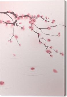 Tableau sur toile Peinture de style oriental, fleur de cerisier au printemps