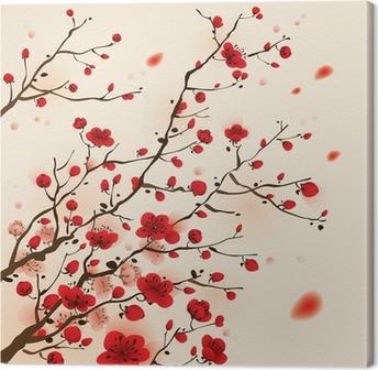 Tableau sur toile Peinture de style oriental, fleur de prunier au printemps