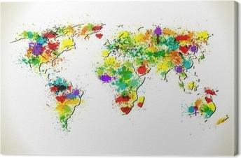 Tableau sur toile Peinture éclabousse carte du monde vecteur fond