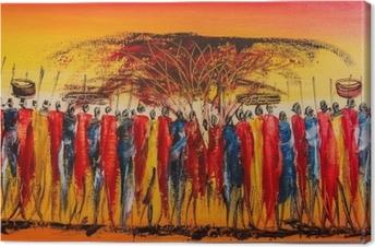 Tableau sur toile Peinture kenyane typique pour les touristes