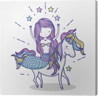 Tableau sur toile Petite sirène avec caricature d'art licorne