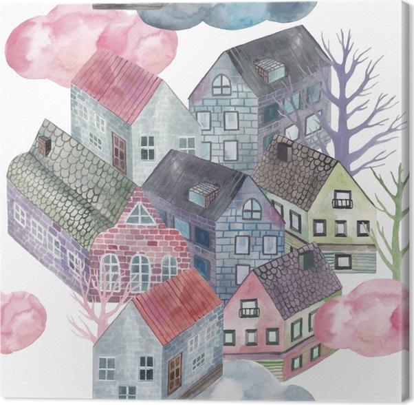 Tableau sur toile Petite ville - Tatiana - Artistes contemporains