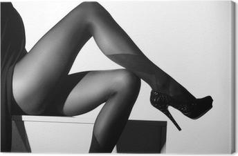 Tableau sur toile Photo noir et blanc de belles jambes en bas