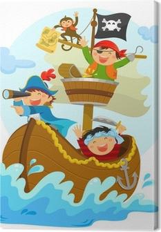 Tableau sur Toile Pirates heureux naviguant dans leur bateau