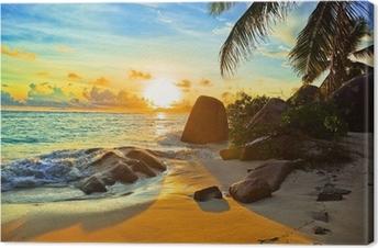 Tableau sur toile Plage tropicale coucher soleil