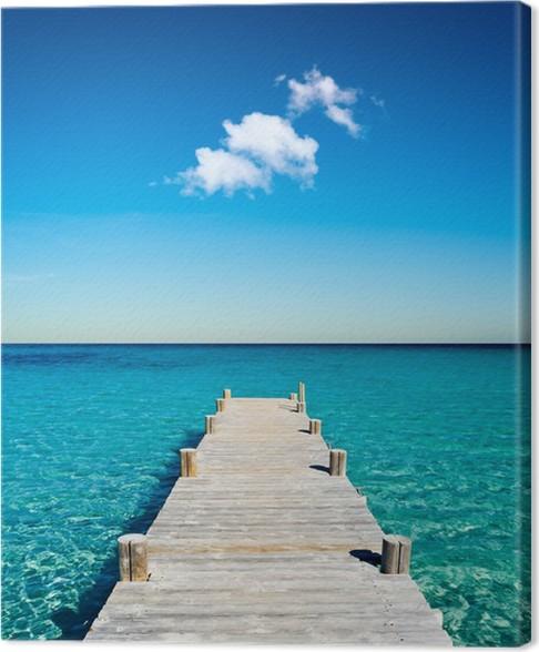 Tableau sur toile plage vacances ponton bois pixers for Toile de plage ikea