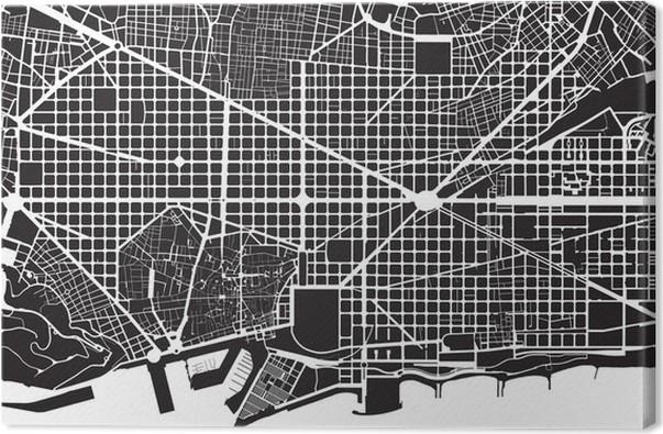 tableau sur toile plan de la ville de barcelone blanc noir rue texture pixers nous vivons. Black Bedroom Furniture Sets. Home Design Ideas