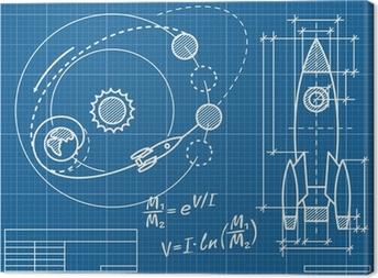 Tableau sur toile Plan du vaisseau spatial et de sa trajectoire