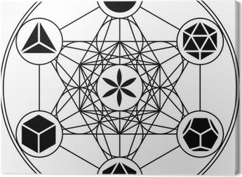 Tableau sur toile Platonische Körper, Metatrons Würfel, Blume des Lebens