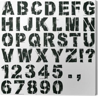 Tableau sur toile Pochoir lettres et des chiffres