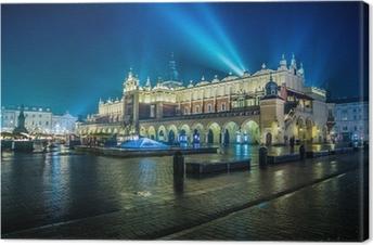 Tableau sur toile Pologne, Cracovie. Place du Marché de nuit.