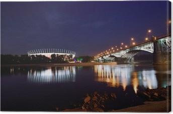 Tableau sur toile Poniatowski Bridge et Stade National de Varsovie par nuit