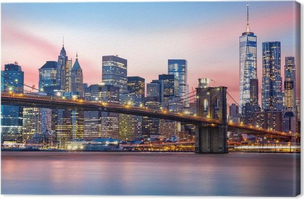 Tableau sur toile pont de brooklyn et l 39 horizon lower - Toile pont de brooklyn ...