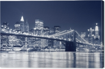 Tableau sur toile Pont de Brooklyn et Manhattan Skyline At Night, New York City