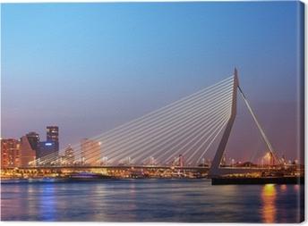 Tableau sur toile Pont Erasmus à Rotterdam au crépuscule