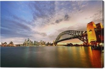 Tableau sur toile Port de Sydney Panorama au crépuscule