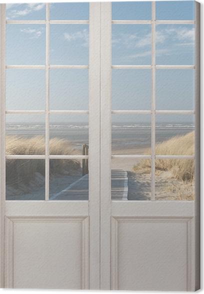 Tableau sur toile Porte Blanche - Nordsee Strand Auf Langeoog - La vue à travers la porte