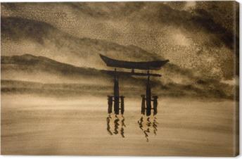 Tableau sur toile Porte japonaise dans l'eau