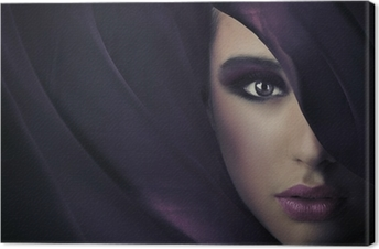 Tableau sur toile Portrait d'une jeune beauté, beaucoup de copie espace