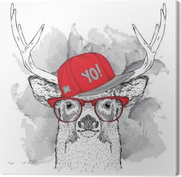 tableau sur toile portrait de cerfs avec des lunettes des couteurs et dans le hip hop chapeau. Black Bedroom Furniture Sets. Home Design Ideas