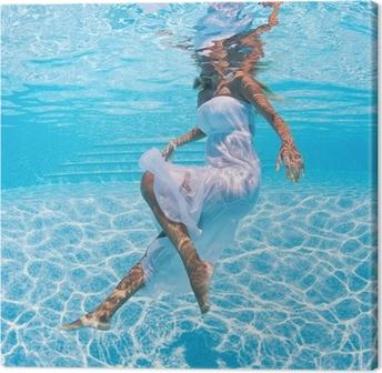 Tableau sur toile Portrait de femme sous l'eau avec une robe blanche dans la piscine.