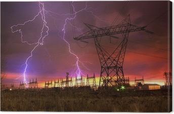 Tableau sur toile Power Station de distribution avec Lightning Strike.