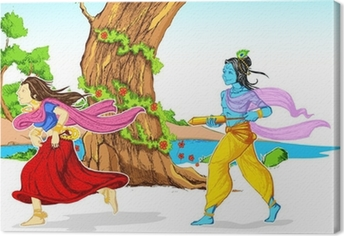 Tableau sur toile Radha Krishna Playing Holi