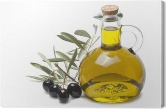 Tableau sur toile Rameau d'olivier avec des olives noires et huile d'olive.
