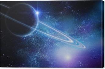 Tableau sur toile Réaliste Saturne en espace ouvert