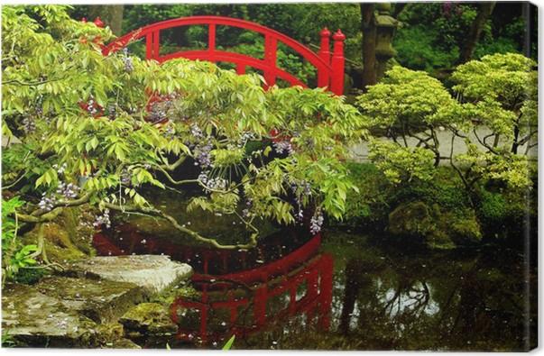 Tableau sur toile Réflexion de l\'eau dans un jardin japonais avec un ...