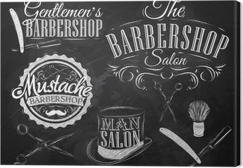 Tableau sur toile Réglez Barbershop, ciseaux, brosse de rasage, rasoir, bouteille, en ar
