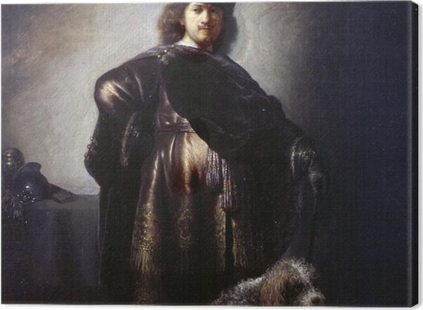 Tableau sur toile Rembrandt - Autoportrait de l'artiste en costume oriental avec caniche - Reproductions